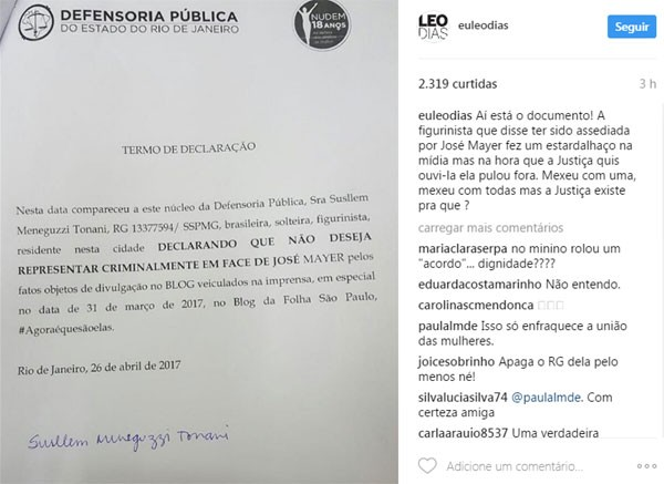 """Documento divulgado no Instagram do colunista Leo Dias, do jornal """"O Dia"""" (Foto: Reprodução Instagram)"""
