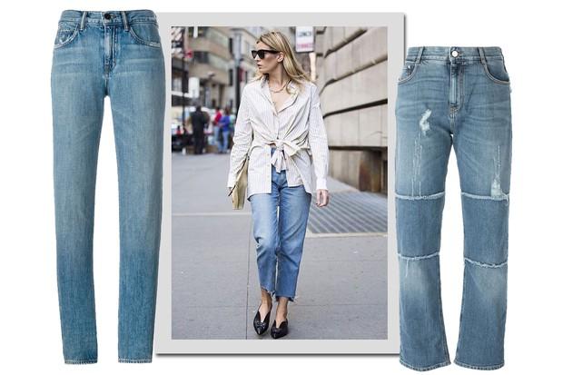 Camille Charrière e, da esquerda para a direita, jeans, Helmut Lang, R$ 940; Stella McCartney, R$ 1.355 (Foto: Instagram/Reprodução e Farfetch/Divulgação)