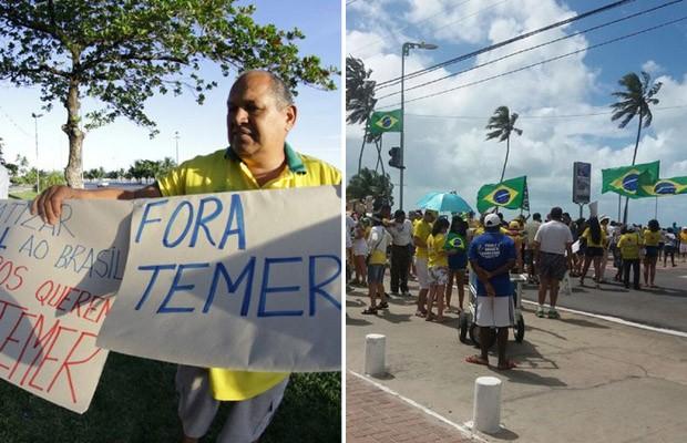 Maceió teve protestos contra Dilma e contra Temer neste domingo (Foto: Suely Melo/G1 e Jonathan Lins/G1)