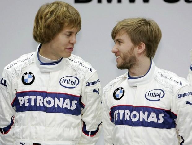 Vettel ao lado de Heidfeld na BMW em 2007 (Foto: Getty Images)