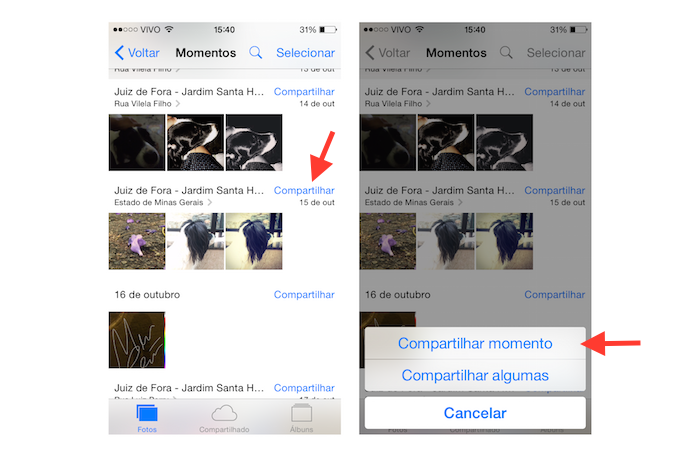 Iniciando o compartilhamento de fotos na visualização momentos do iOS (Foto: Reprodução/Marvin Costa)