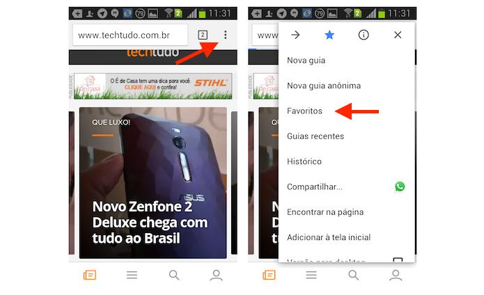 Acessando a página de favoritos do Chrome no Android (Foto: Reprodução/Marvin Costa)