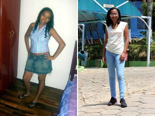 Lucélia, antes e depois de se viciar em internet (Foto: Arquivo pessoal e Natália de Oliveira/G1)