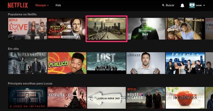 Escolha a série ou filme que deseja ver (Foto: Reprodução/Lucas Mendes)
