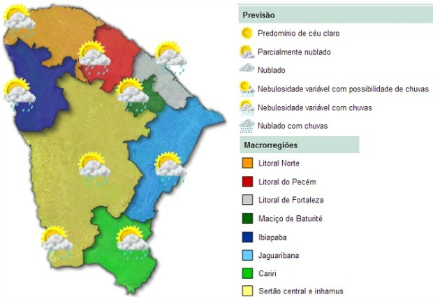 Previsão é de chuva em todas as regiões do Ceará no fim de semana (Foto: Funceme/Reprodução)