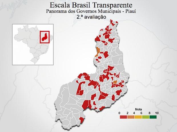 Mapa Piauí - Avaliação CGU (Foto: Reprodução/CGU)