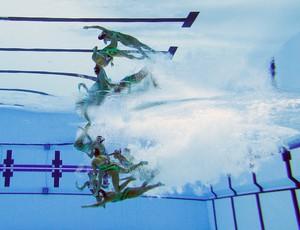 Equipe de Cuba na final do nado sincronizado Pan (Foto: Al Belo/Getty Images)