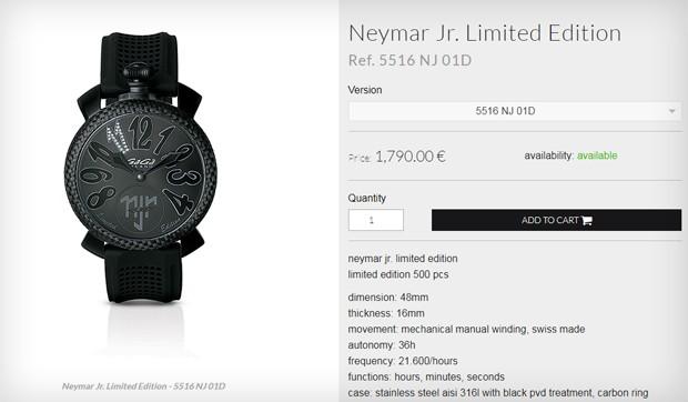 Relógio que Neymar usou em sua coletiva de imprensa no PSG (Foto: Reprodução)