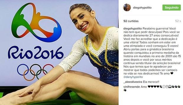 Diego Hypolito sobre Daniele Hypolito (Foto: Instagram / Reprodução)
