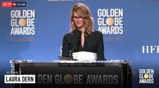Laura Dern lê os indicados ao Golden Globe (Foto: Reprodução)