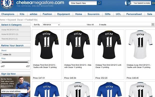Site oficial do Chelsea já vende camisas de Oscar (Foto: Reprodução)
