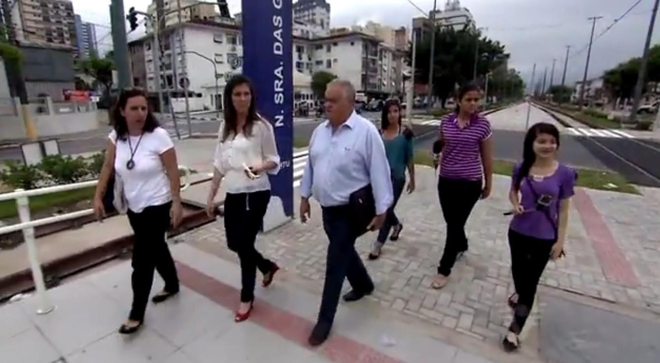 Imagens da gravação da matéria do Câmera Educação 2014 (Foto: Reprodução/TV Tribuna)