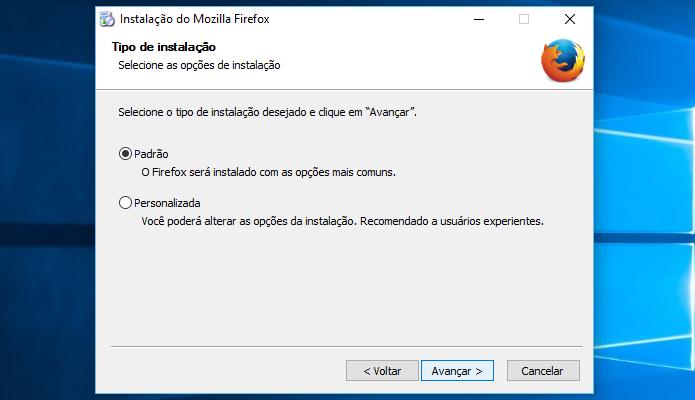 Escolha se você gostaria de personalizar a instalação do Firefox (Foto: Reprodução/Helito Bijora)