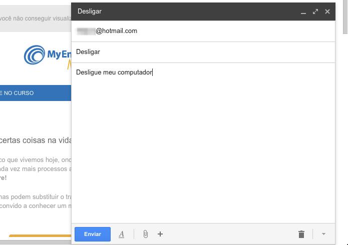 Enviando e-mail para desligar o computador (Foto: Reprodução/Helito Bijora)