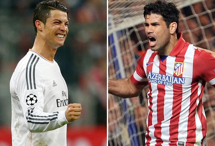 Montagem Cristiano Ronaldo e Diego Costa, Real Madrid x Atlético de Madrid (Foto: AP e AFP)