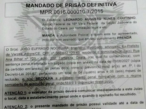 Mandado de prisão contra ex-prefeito de Várzea Alegre foi cumprido em Fortaleza (Foto: Reprodução)