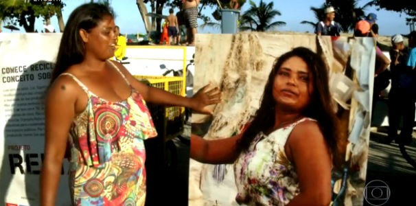 Mulheres catadoras ganham carrinho equipamentos personalizados com fotos delas  (Foto: Reprodução/ TV Globo)
