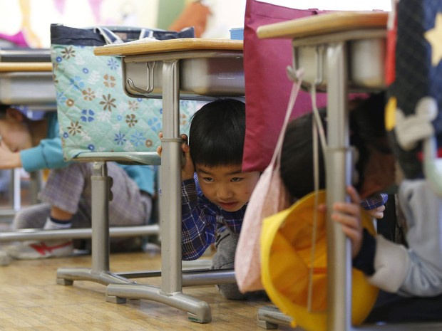 Crianças são treinadas a saber agir em caso de terremoto (Foto: Issei Kato/Reuters)