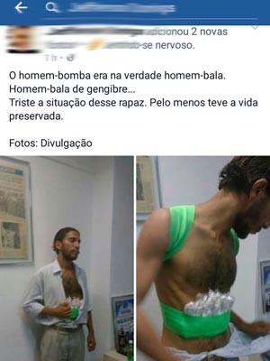 Foto com balas de gengibre presas ao corpo do homem que ameaçou explodir bomba circulam nas redes sociais (Foto: Reprodução/Facebook)
