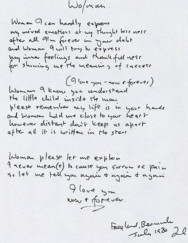 Manuscrito de 'Woman', uma das canções do ex-Beatle (Foto: Reprodução)