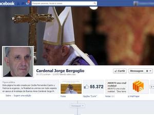 Papa Francisco I já tinha página no Facebook (Foto: Reprodução)