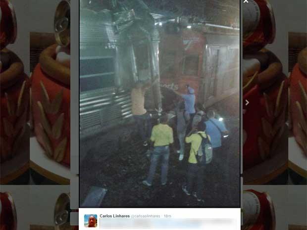 Internauta postou foto do acidente no Twitter (Foto: Reprodução / Twitter)