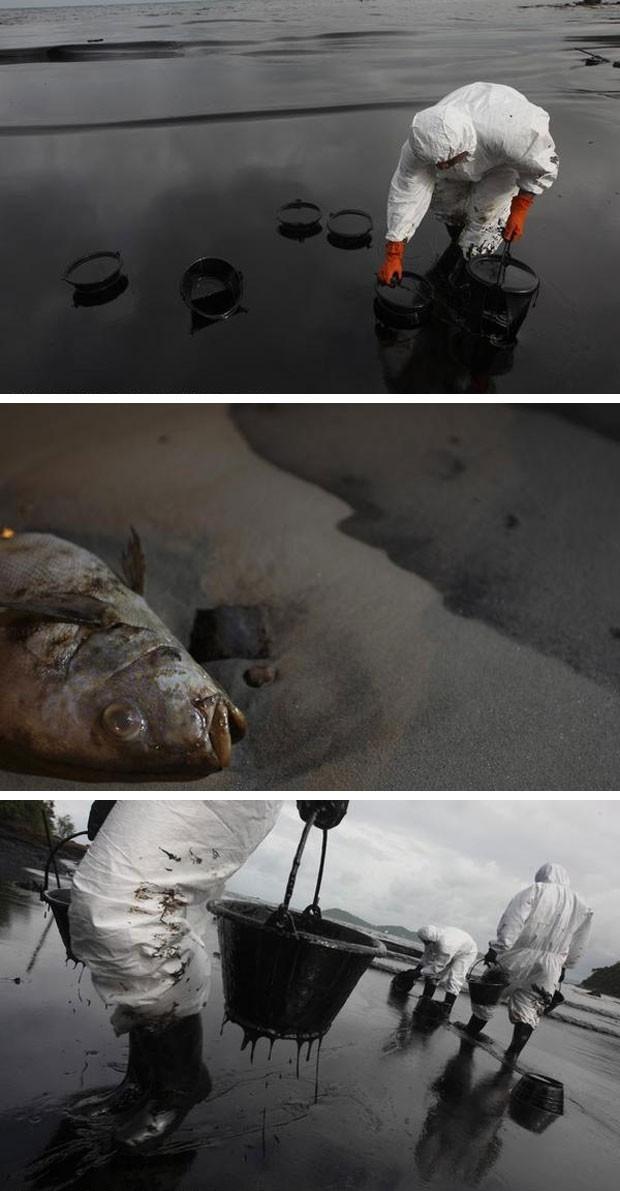 Imagens feitas pela organização Greenpeace no local do vazamento (Foto: Roenggrit Kongmuang / Greepeace)