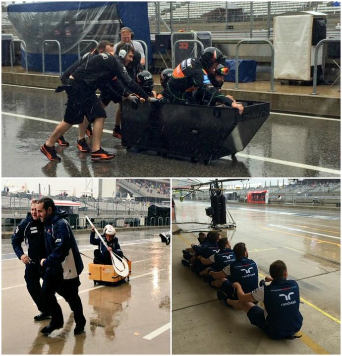Bobsled da Force India, remo da Williams, canoa da Sauber. Equipes da Fórmula 1 se divertem na chuva (Foto: Divulgação)