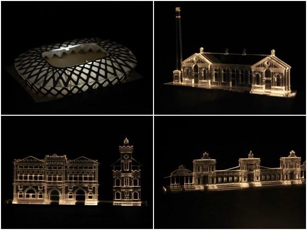 Arena da Amazônia, Usina Chaminé, Alfândega e Mercado Adolpho Lisboa foram representados em mini esculturas (Foto: Jamile Alves/G1 AM)