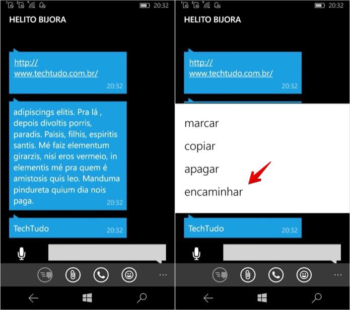 Encaminhando mensagens no WhatsApp para Windows Phone (Foto: Reprodução/Helito Bijora)