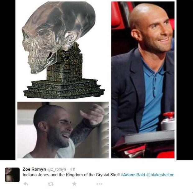 Adam Levine raspa o cabelo e inspira memes (Foto: Twitter / Reprodução)