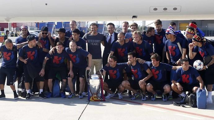 Barcelona festa Champions (Foto: Divulgação/Site oficial do Barcelona)