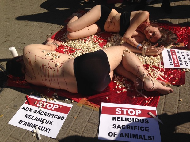 Ativistas simulam ritual de sacrifício (Foto: Rafaella Fraga/G1)