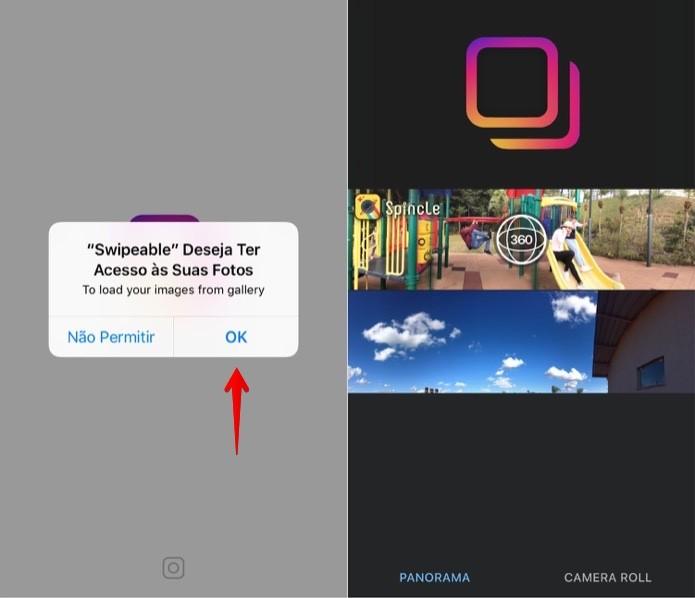 Permita que o app acesse as suas fotos (Foto: Reprodução/Helito Bijora)