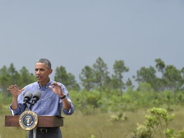 O presidente dos EUA, Barack Obama, durante discurso no Parque Nacional Everglades, nesta quarta-feira (22) (Foto: Susan Walsh/AP)