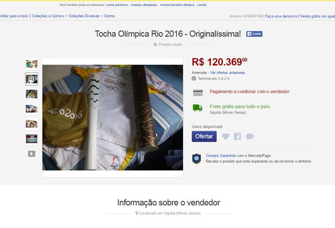 tocha olímpica venda mercado livre rio 2016 (Foto: Reprodução/Mercado Livre)