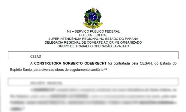 Obra da Cesan é citada em lista de propinas da Odebrecht (Foto: Reprodução/ Documento da PF)