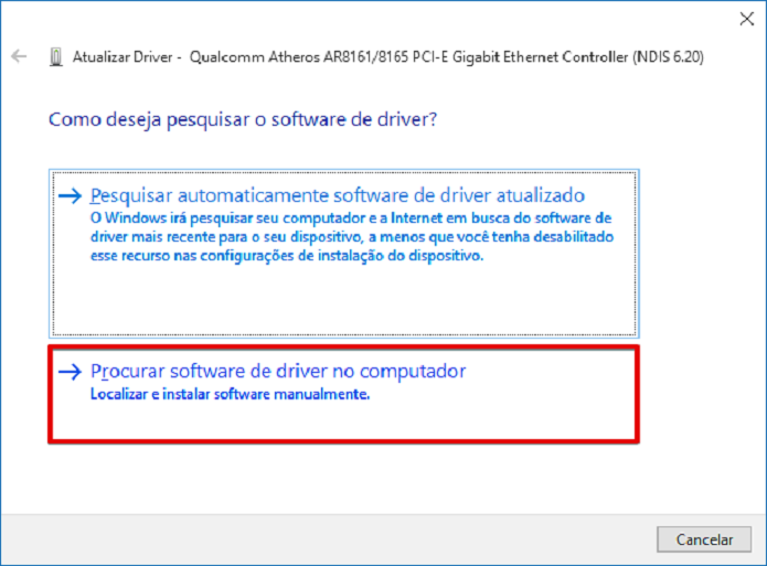 Instalando manualmente o driver da placa de rede wireless (Foto: Felipe Alencar/TechTudo)