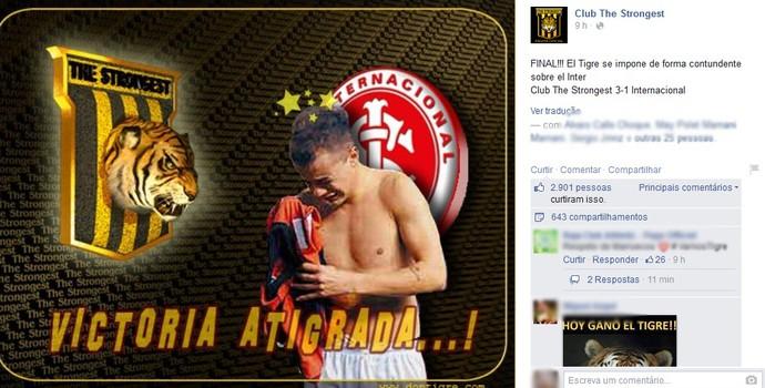 The Strongest divulgou montagem após vitória em rede social (Foto: Reprodução/Facebook The Strongest)