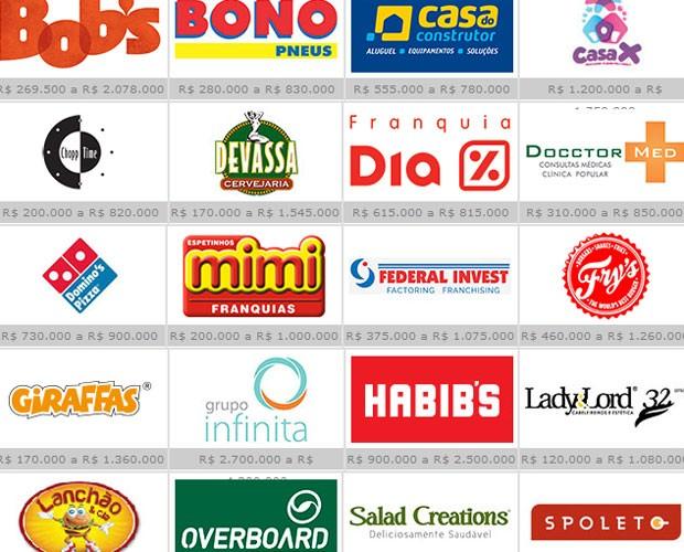 Opções de franquia com investimento inicial acima de R$ 750 mil (Foto: Reprodução/ABF)