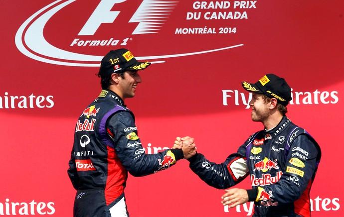 Daniel Ricciardo e Vettel pódio GP do Canadá (Foto: EFE)