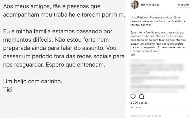 Post de Ticiana Villas Boas (Foto: Reprodução/Instagram)