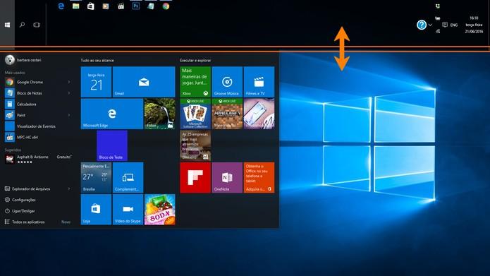 Redimensione a barra de tarefas no Windows 10 (Foto: Reprodução/Barbara Mannara)