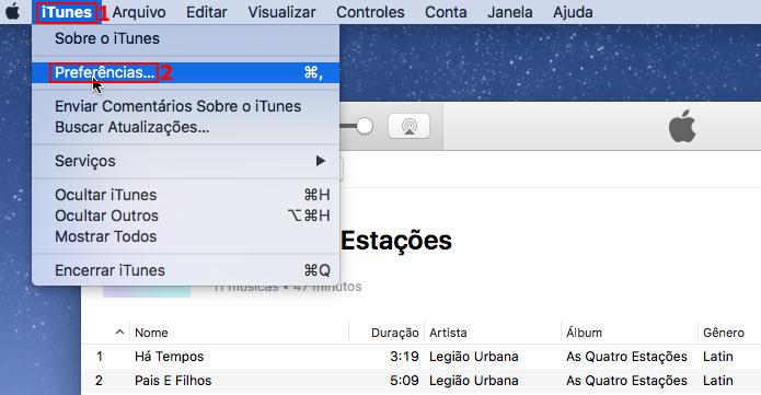 Acessando as preferências do iTunes (Foto: Reprodução/Edivaldo Brito)