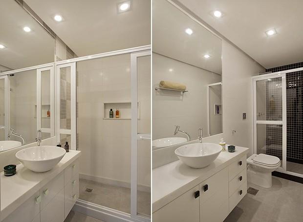 Funcional e moderno apartamento decorado em apenas 65 m²  Casa e Jardim  D -> Banheiros Modernos Claros