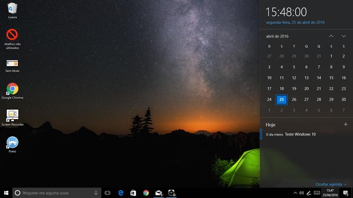 Windows 10 agora mostra compromissos no relógio e alertas no ícone da barra de tarefas (Foto: Reprodução/Elson de Souza)
