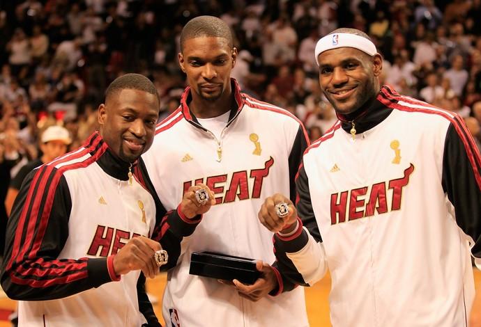 Dwyane Wade, Chris Bosh e LeBron James pelo Miami Heat em 2012 (Foto: Getty Images)