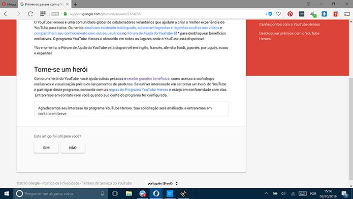 YouTube Heroes confirmará inscrição, mas participação depende de aprovação posterior (Foto: Reprodução/Elson de Souza)