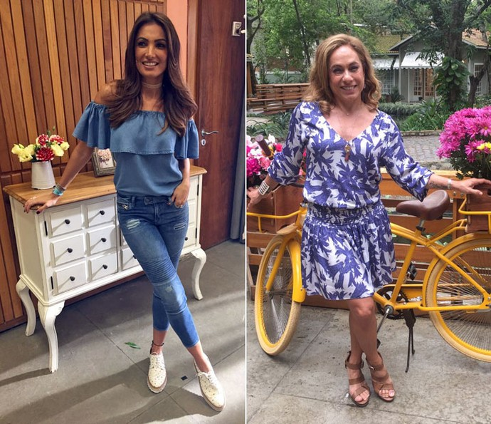 Patrícia Poeta e Cissa Guimarães investiram nos looks azuis para o 'É de Casa' (Foto: Priscilla Massena / Gsow)