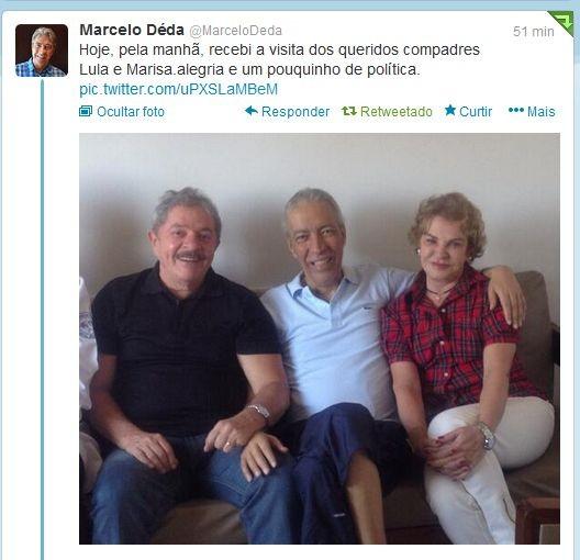 Marcelo Déda recebe a visita de Lula e Marisa em São Paulo (Foto: Reprodução/Twitter)